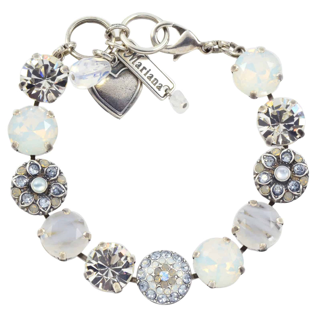 Mariana Jewelry Silk Guardian Angel Style Flower Tennis Bracelet, Silver Plated With Clear and Grey Swarovski Crystal, 8 4501/1 1049