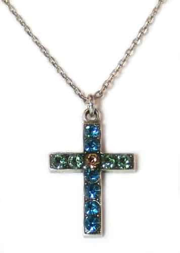 Mariana Jewelry Silver Plated After Midnight Swarovski Crystal Cross Pendant Necklace