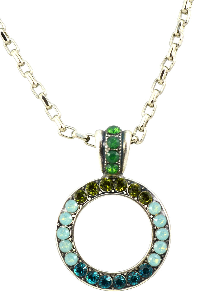 Mariana Jewelry Silver Plated Angelica Swarovski Crystal Circle Pendant Necklace