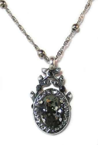 Mariana Silver Plated Black Diamond Swarovski Crystal Pendant Necklace, 22+4