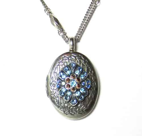 Mariana Silver Plated Blue Suede Shoes Swarovski Crystal Locket Pendant Necklace