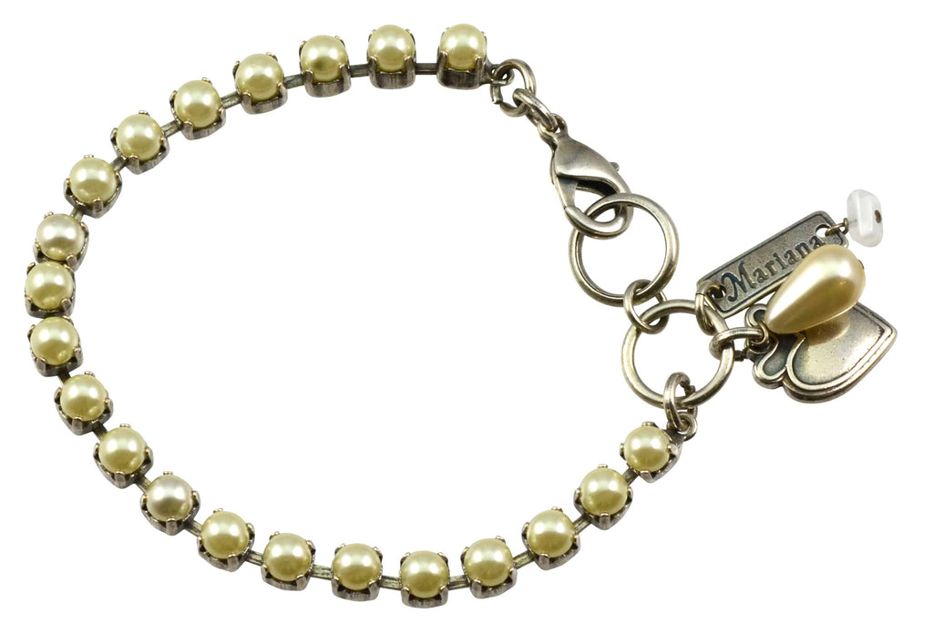 Mariana Silver Plated Swarovski Crystal Tennis Bracelet with Heart Pendant, 8