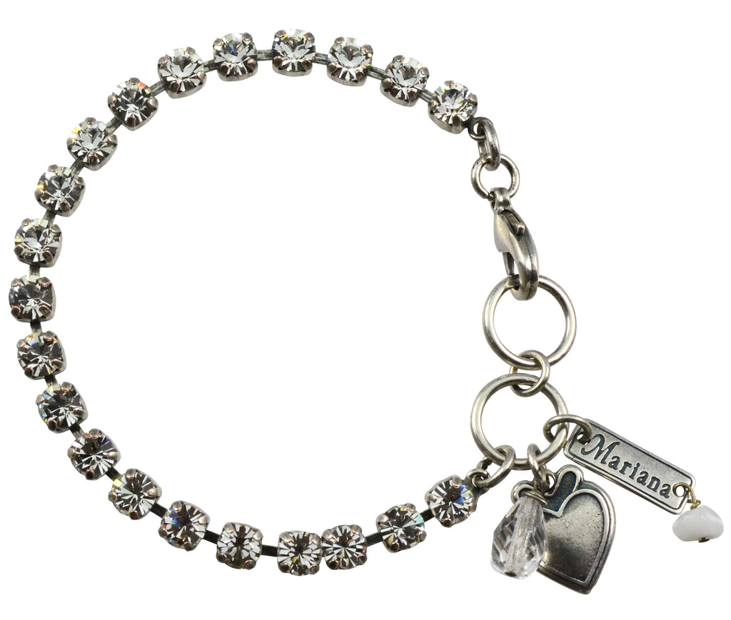 Mariana Silver Plated Swarovski Crystal Tennis Bracelet with Heart Pendant in Clear Swarovski Crystal, 8