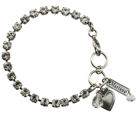 Mariana On A Clear Day Silver Plated Swarovski Crystal Tennis Bracelet, 8