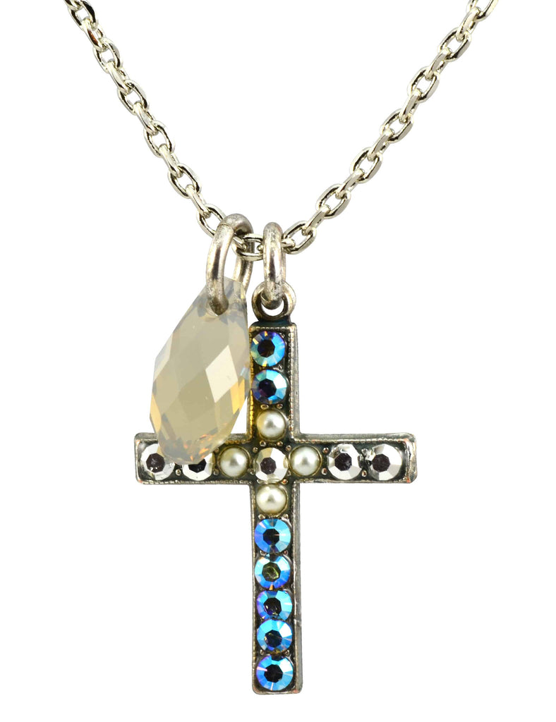 Mariana Jewelry Silver Plated Casablanca Swarovski Crystal Cross Pendant Necklace