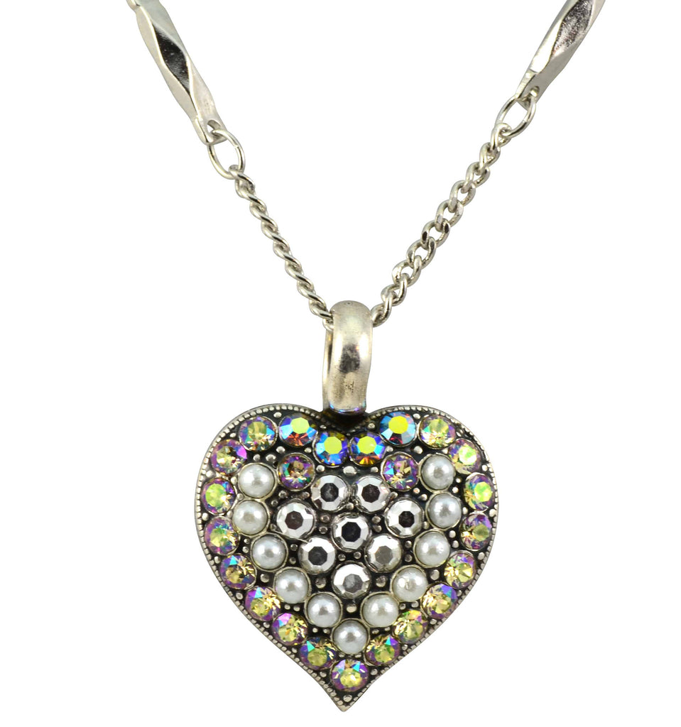 Mariana Jewelry Silver Plated Casablanca Swarovski Crystal Heart Pendant Necklace