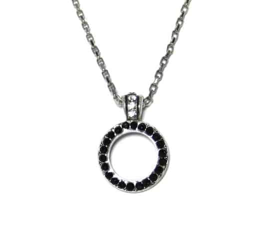 Mariana Silver Plated Swarovski Crystal Circle Pendant Necklace in Clear and Jet Crystal