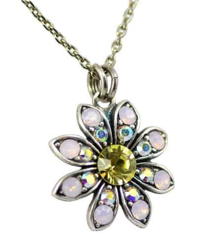 Mariana Silver Plated Coco Swarovski Crystal Flower Pendant Necklace