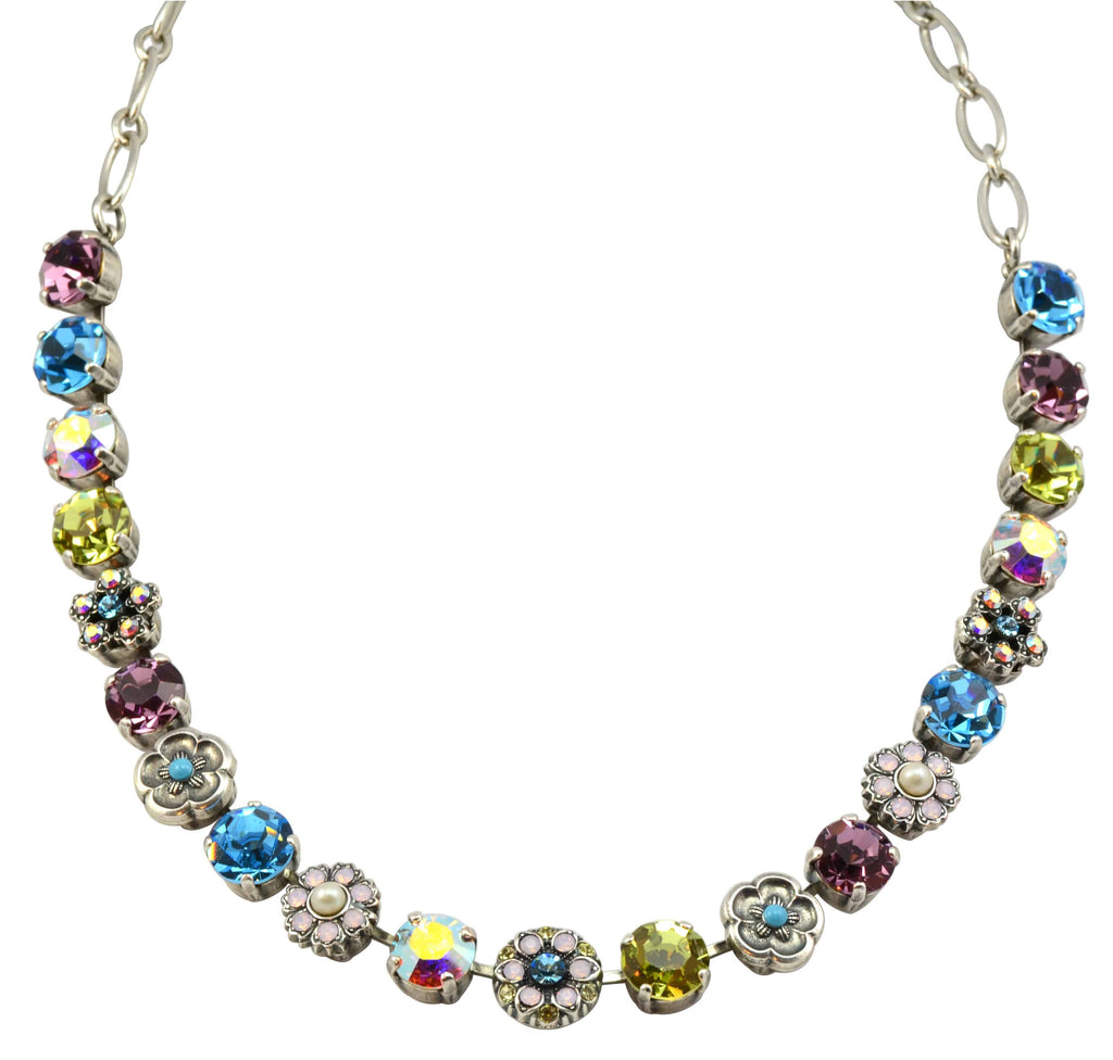 Mariana Silver Plated Coco Large Swarovski Crystal Flower Necklace