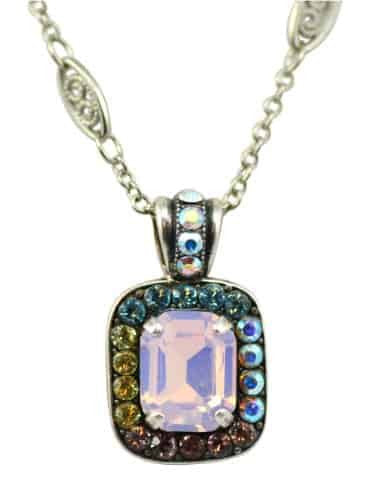 Mariana Jewelry Silver Plated Coco Rectangle Swarovski Crystal Pendant Necklace, 14+4