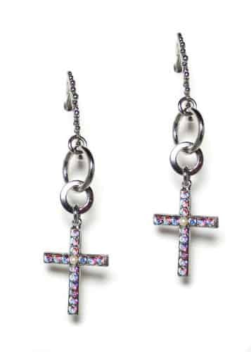 Mariana Jewelry Silver Plated Swarovski Crystal Crescent Moon and Cross Earrings in Crystal Aurora Boreale