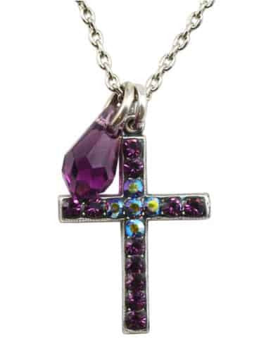 Mariana Jewelry Silver Plated Swarovski Crystal Cross Pendant Necklace
