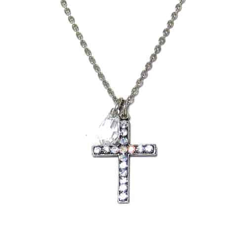 Mariana Silver Plated Swarovski Crystal Cross Pendant Necklace in Clear Crystal