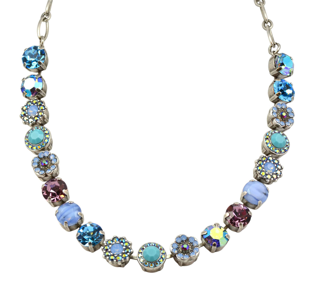 Mariana Silver Plated Diana Large Swarovski Crystal Pearl and Flower Necklace, 18