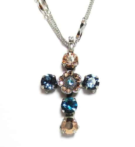 Mariana Jewelry Silver Plated Double Chain Blue Suede Shoes Swarovski Crystal Cross Pendant Necklace