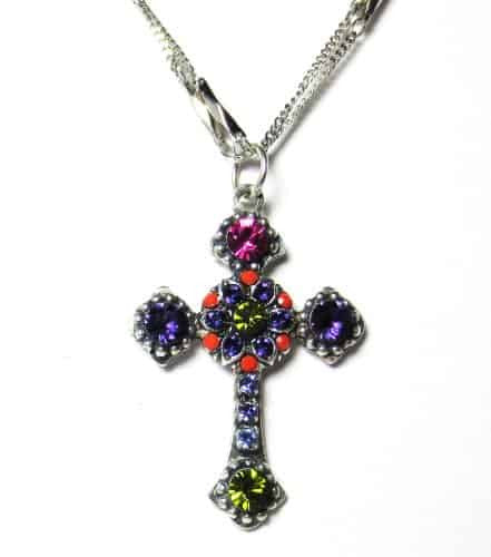 Mariana Silver Plated Double Chain Twist and Shout Swarovski Crystal Cross Pendant Necklace
