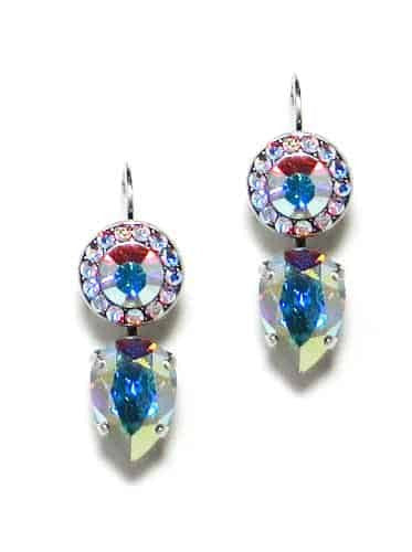 Mariana Jewelry Silver Plated Swarovski Crystal Drop Earrings in Crystal Aurora Boreale