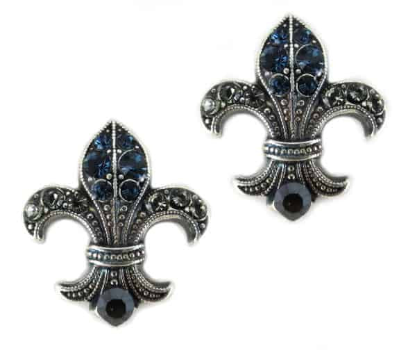 Mariana Silver Plated Fleur de lis in Montana, Jet, and Clear Crystal Swarovski Crystal Earrings