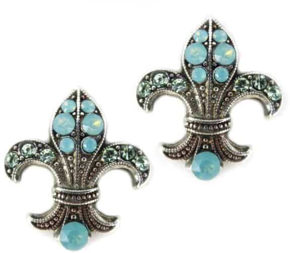 Mariana Jewelry Silver Plated Fleur de lis in Pacific Opaque and Sea Green Opaque Swarovski Crystal Earrings