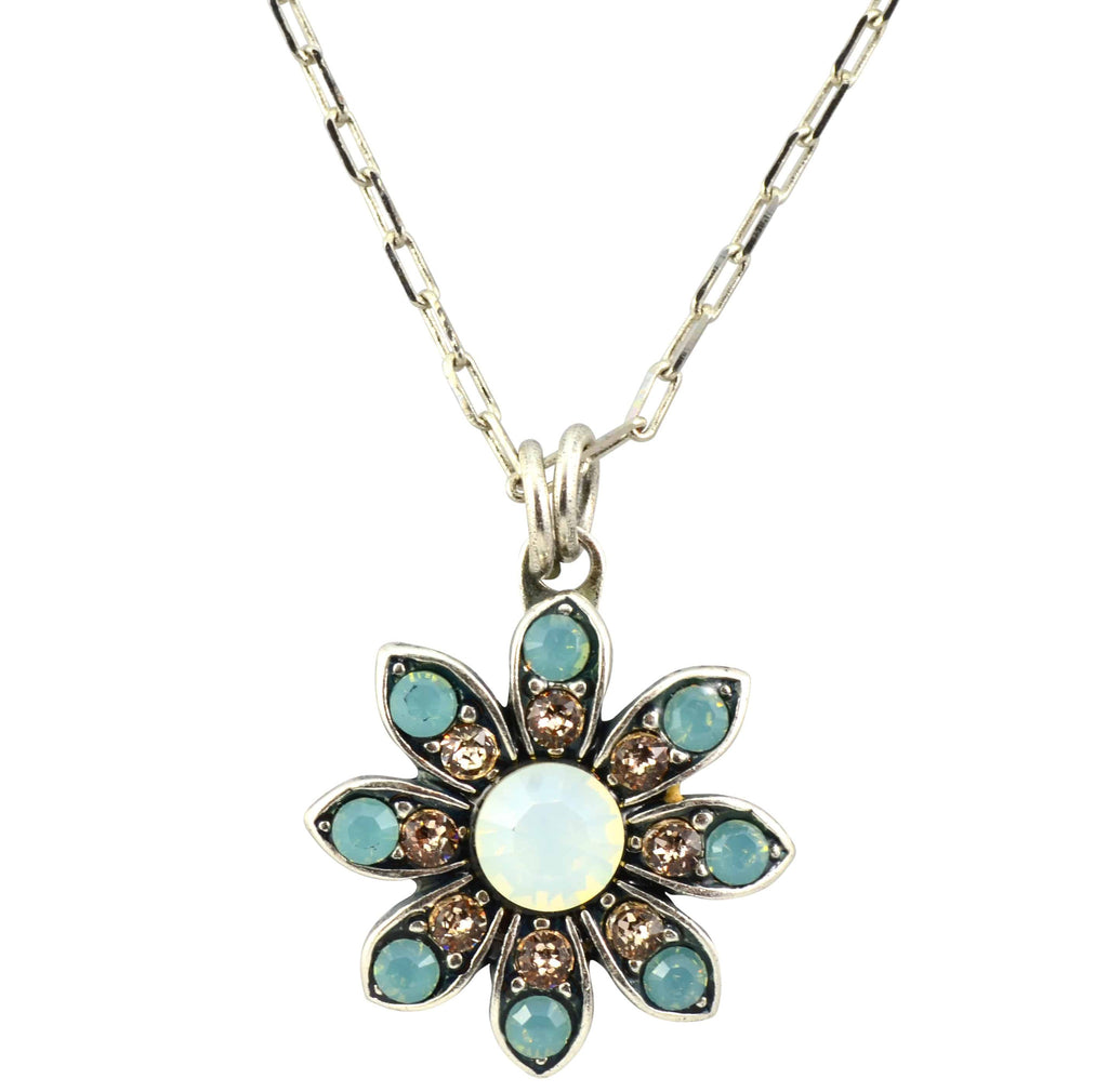 Mariana Jewelry Silver Plated Swarovski Crystal Flower Pendant Necklace, 16+4