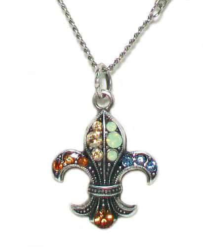 Mariana Jewelry Silver Plated Forget Me Not Swarovski Crystal Fleur De Lis Pendant Necklace