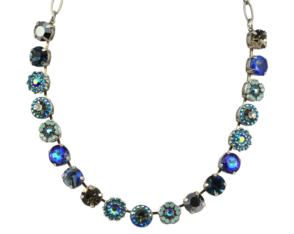 Mariana Jewelry Silver Plated Galaxy Large Swarovski Crystal Frost and Flower Necklace, 18