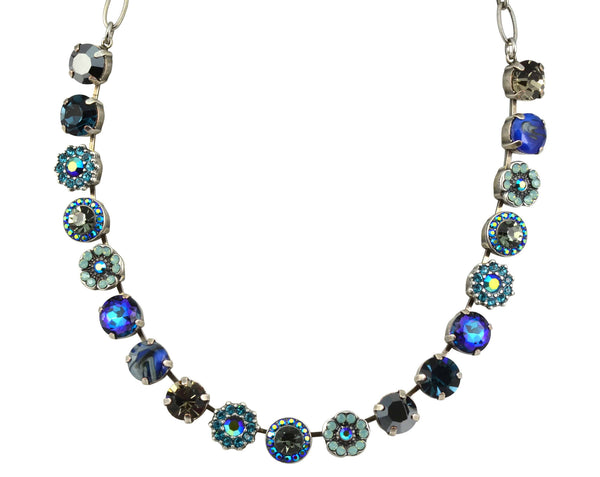 Mariana Silver Plated Galaxy Large Swarovski Crystal Frost and Flower Necklace, 18