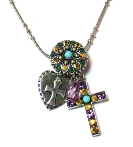 Mariana Silver Plated Goldfinger Swarovski Crystal Cross Charm Necklace, 20+4