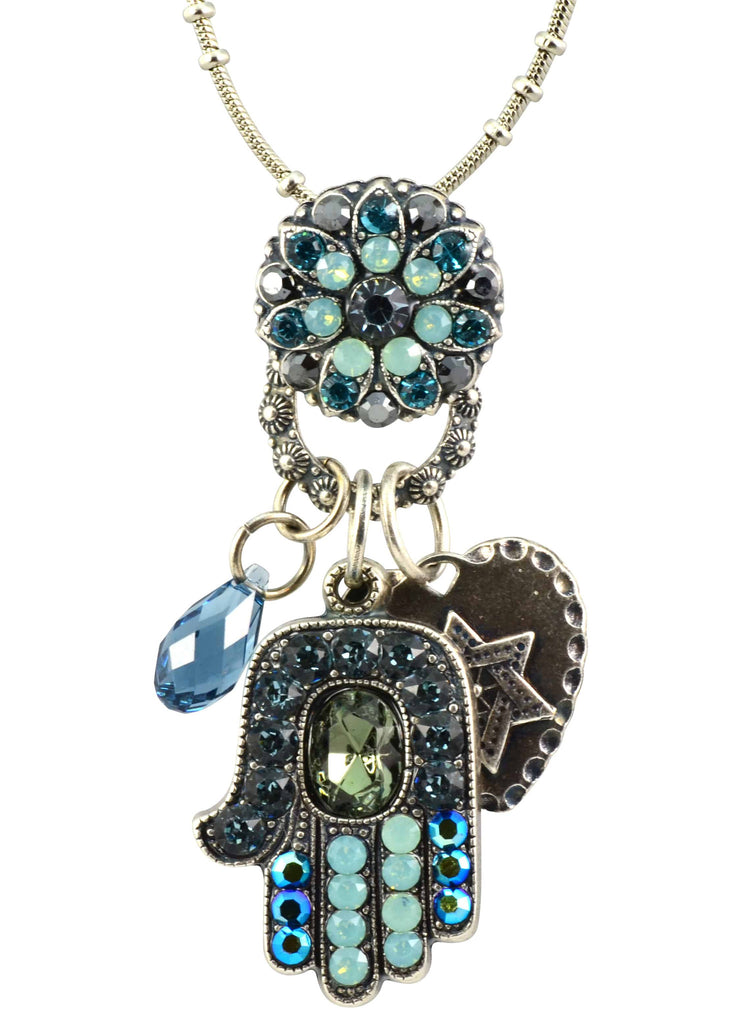 Mariana Silver Plated Swarovski Crystal Hamsa Hand Charm with Heart and Star of David Necklace