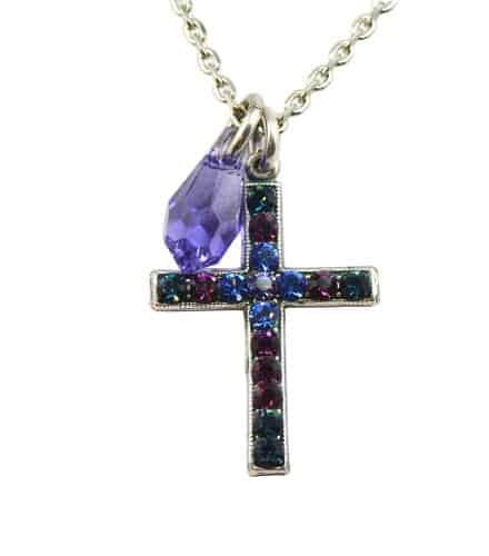 Mariana Jewelry Silver Plated Happy Hour Swarovski Crystal Cross Pendant Necklace