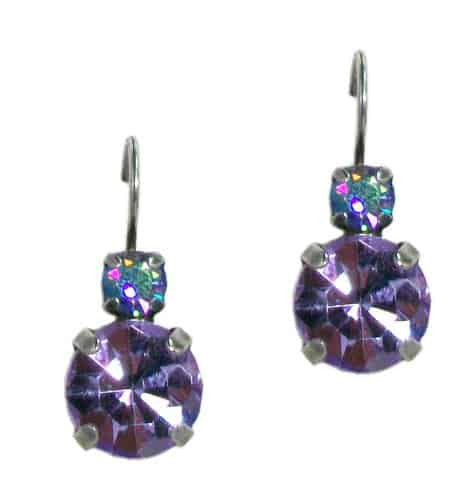 Mariana Silver Plated Iris Petite Round Swarovski Crystal Drop Earrings in AB and Rose