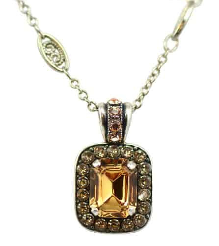 Mariana Jewelry Silver Plated Jackie Rectangle Swarovski Crystal Pendant Necklace, 14+4