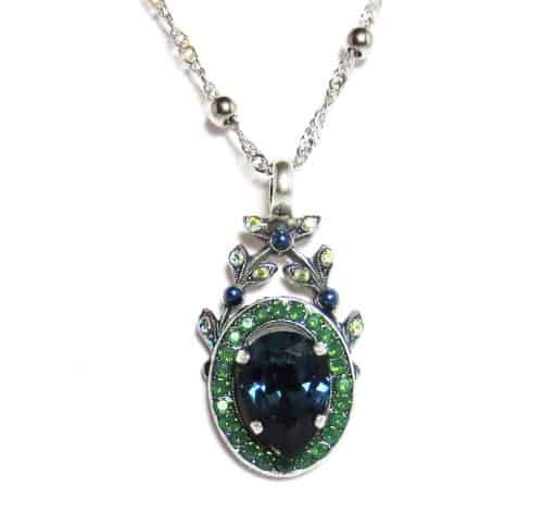 Mariana Silver Plated Jade Swarovski Crystal Pendant Necklace in Green and Blue, 22+4