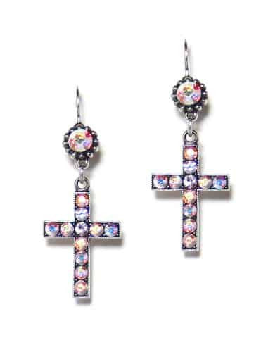 Mariana Jewelry Silver Plated Swarovski Crystal Jewel and Cross Dangle Earrings in Crystal Aurora Boreale