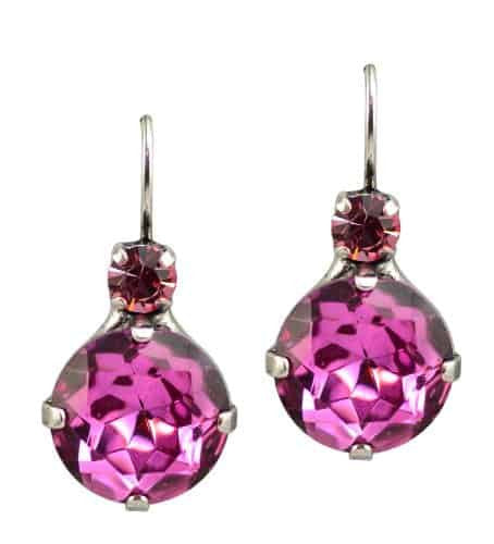 Mariana Silver Plated Large Round Swarovski Crystal Drop Earrings in Indian Pink and Fuchsia