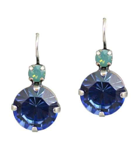 Mariana Jewelry Silver Plated Large Round Swarovski Crystal Drop Earrings in Pacific Opaque and Blue