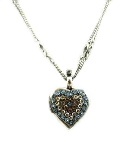 Mariana Jewelry Silver Plated Moondrops Swarovski Crystal Heart Locket Pendant Necklace and Double Chain
