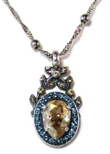 Mariana Silver Plated Moondrops Swarovski Crystal Pendant Necklace, 22+4