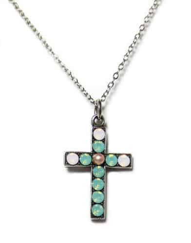 Mariana Silver Plated Morning Glory Swarovski Crystal Cross Pendant Necklace