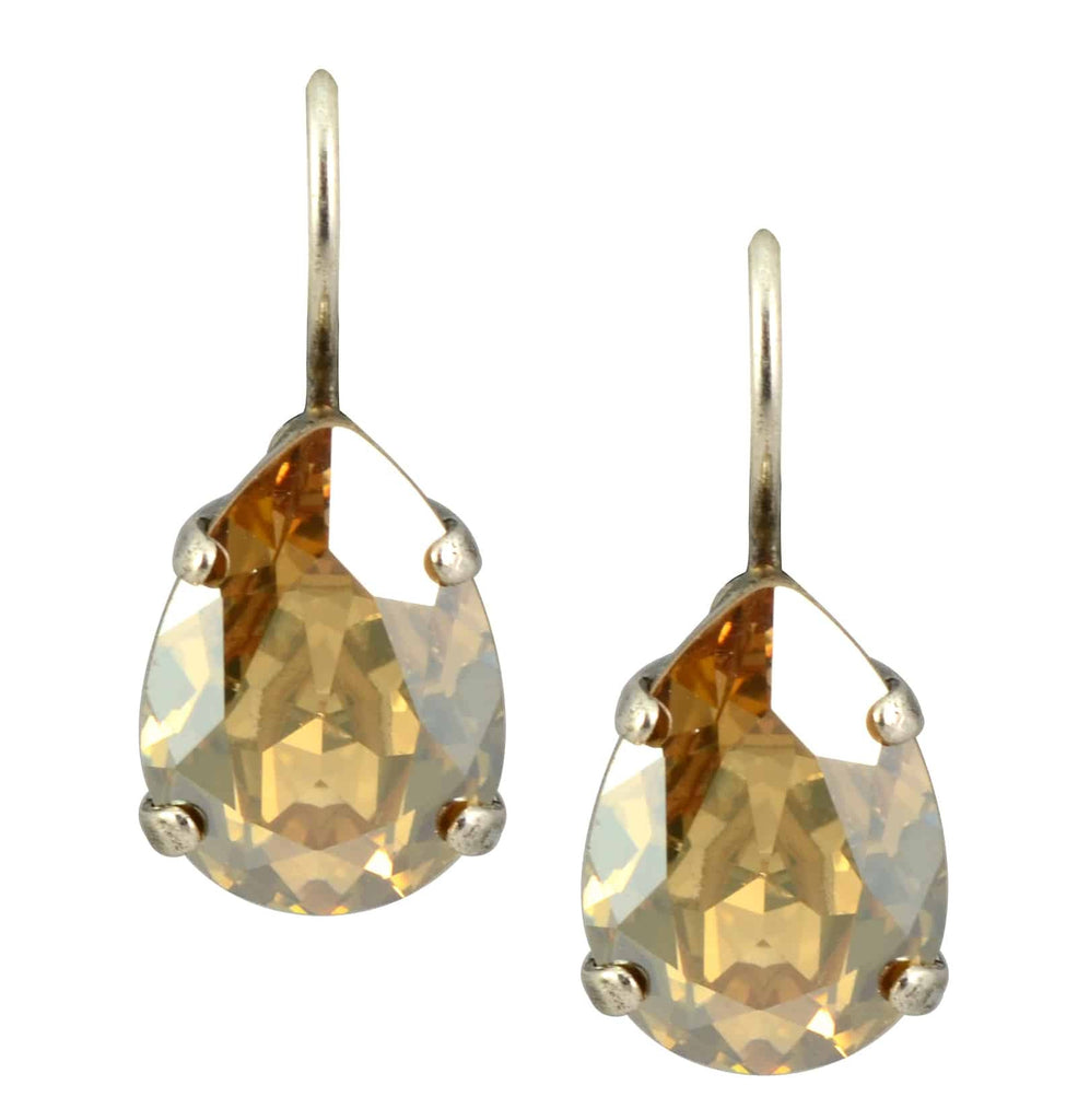 Mariana Jewelry Silver Plated Raindrop Swarovski Crystal Drop Earrings in Dark Champagne