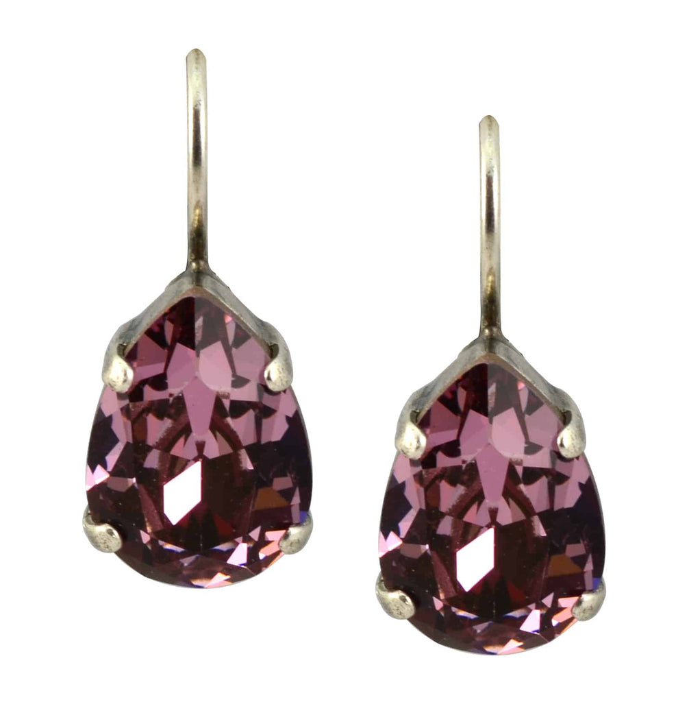 Mariana Jewelry Silver Plated Raindrop Swarovski Crystal Drop Earrings in Dark Rose