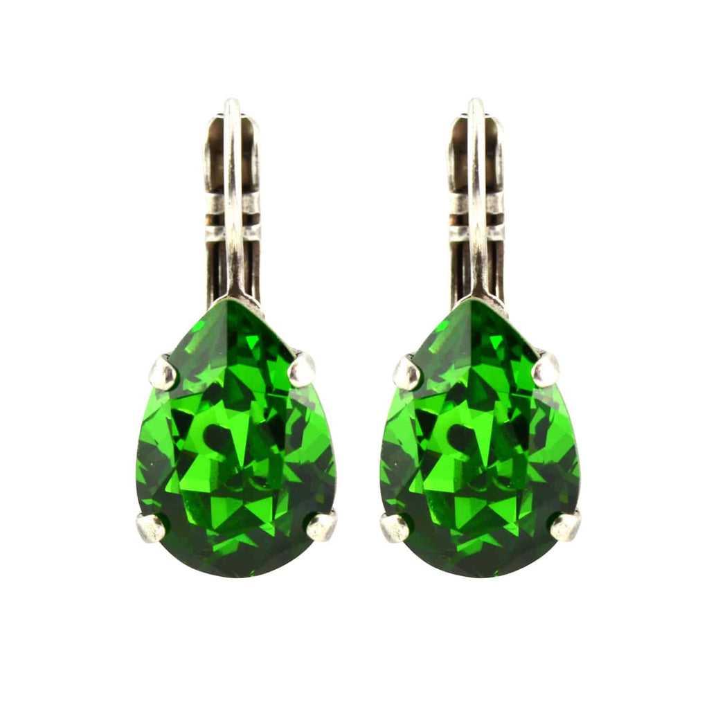 Mariana Jewelry Silver Plated Raindrop Swarovski Crystal Drop Earrings in Green