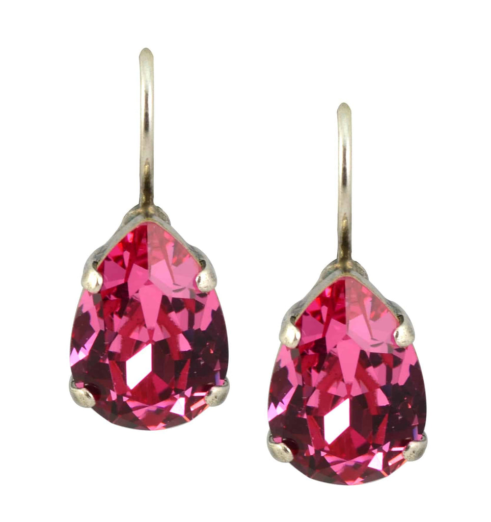 Mariana Jewelry Silver Plated Raindrop Swarovski Crystal Drop Earrings in Rose