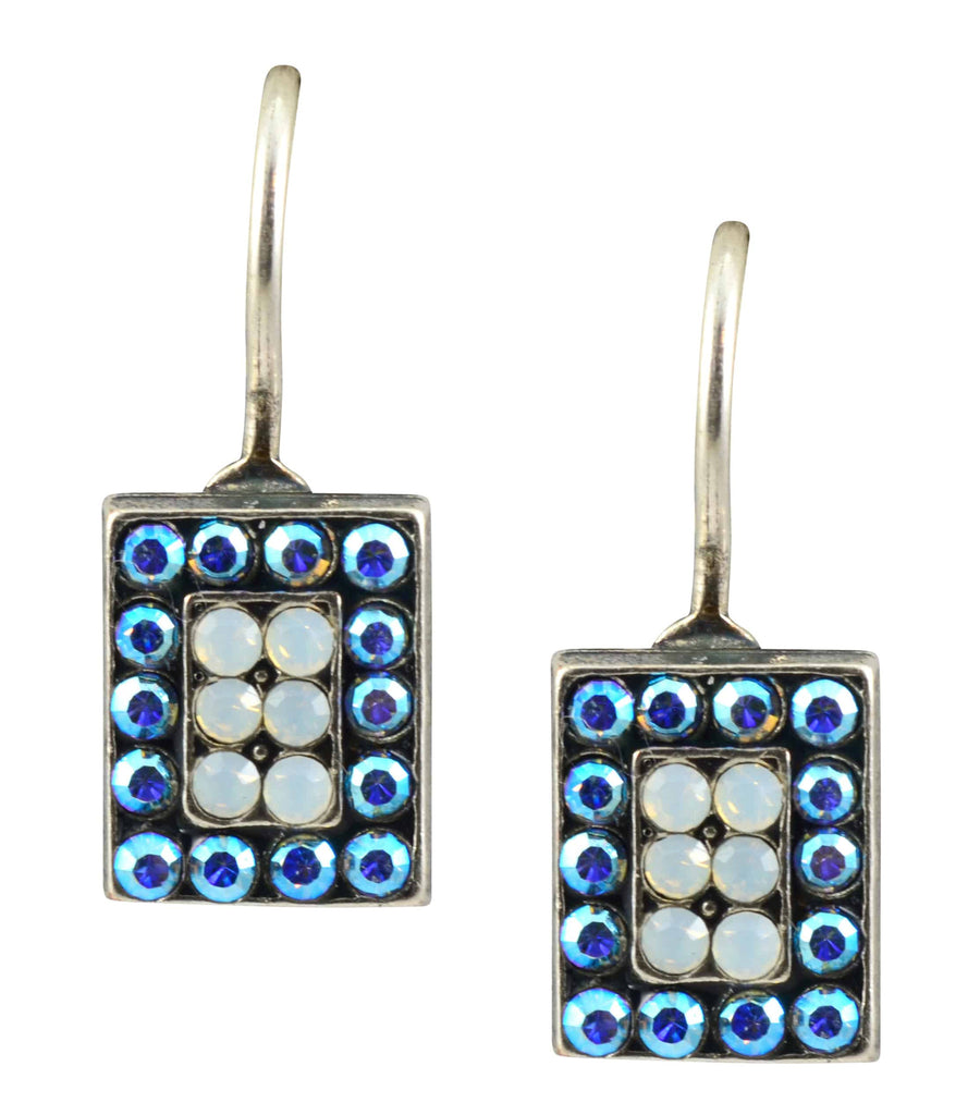 Mariana Jewelry Silver Plated Swarovski Crystal Petite Rectangle Drop Earrings