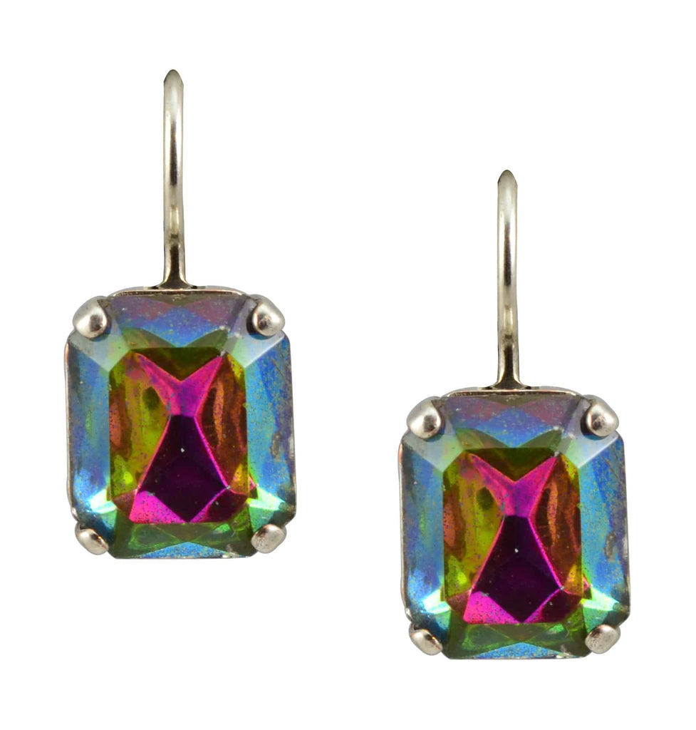 Mariana Jewelry Silver Plated Swarovski Crystal Rectangle Drop Earrings