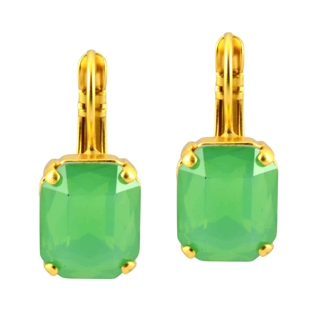 Mariana Jewelry Gold Plated Swarovski Crystal Rectangle Drop Earrings