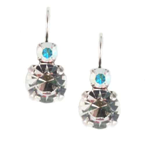 Mariana Jewelry Silver Plated Petite Round Swarovski Clear Crystal Drop Earrings