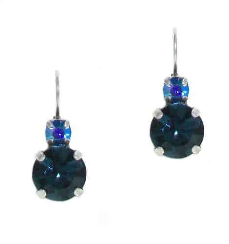 Mariana Silver Plated Petite Round Swarovski Crystal Drop Earrings in AB and Montana Blue