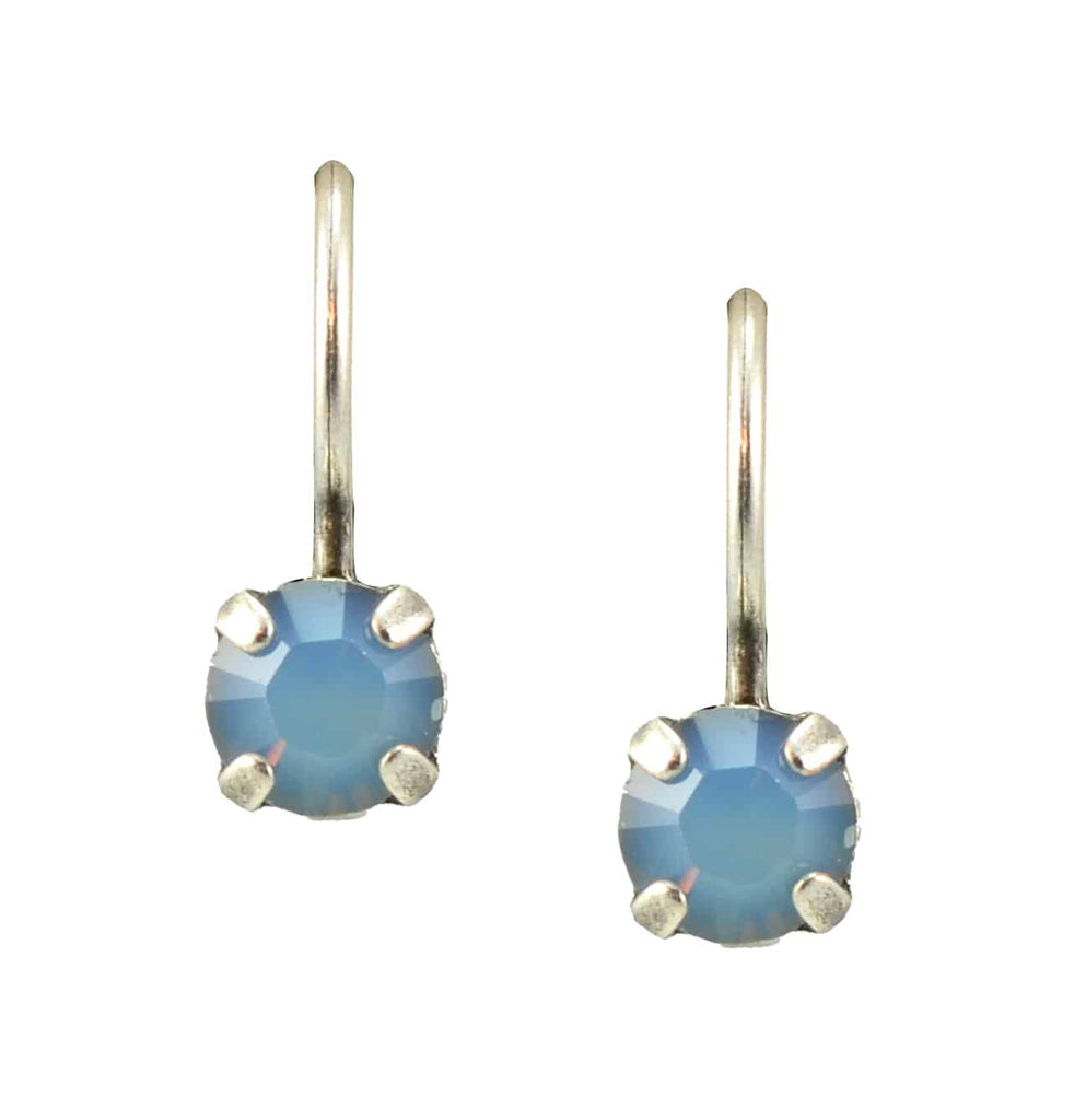 Mariana Jewelry Silver Plated Petite Round Swarovski Crystal Drop Earrings in Air Blue Opaque