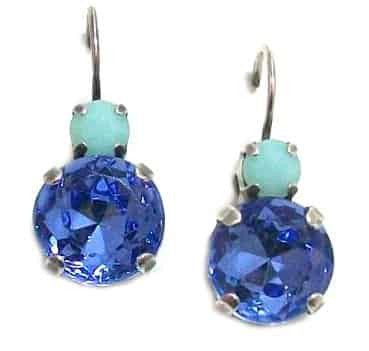 Mariana Silver Plated Petite Round Swarovski Crystal Drop Earrings in Blue Fawn and Mint Alabaster